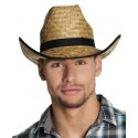 Chapeau de cow-boy en paille tressée avec ruban noir taille unique adulte