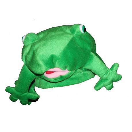 chapeau de grenouille en peluche raze verte coiffe humoristique