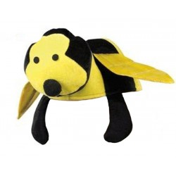 Chapeau en forme d'abeille ou insecte noir et jaune coiffe humoristique
