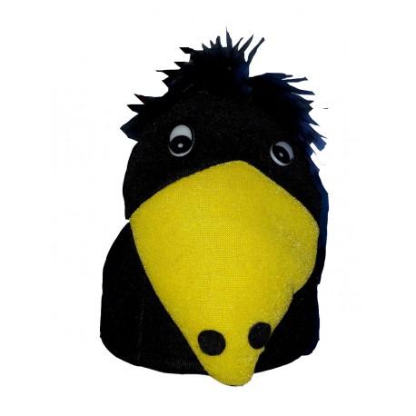 Chapeau en forme de corbeau noir et jaune coiffe humoristique