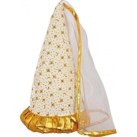 modèle d'exposition Chapeau de fée blanc et or avec voile comme au Moyen Age