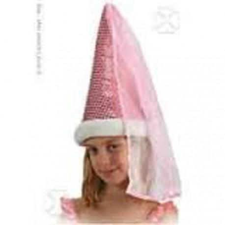Modèle d'exposition Chapeau de fée rose lamé et paillettes avec voile comme au Moyen Age coiffe de conte de fée