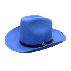 Chapeau de cow-boy texan Bleu en feutre Taille 59 coiffe de belle qualité