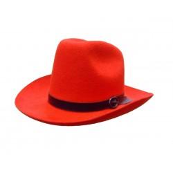 Chapeau de cow-boy texan rouge en feutre taille 59 ou 60 au choix coiffe de très belle qualité
