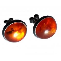 Boucles d'oreilles en Ambre royal de la Baltique et argent massif 925 °/°° vieilli cabochon geant demi sphere