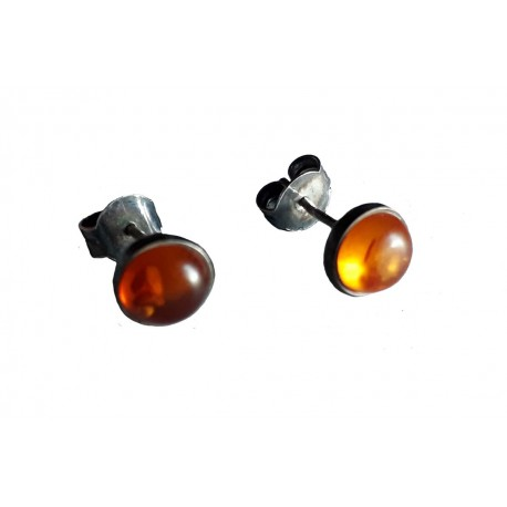 Boucles d'oreilles mini cabochon demi sphère en Ambre de la Baltique et argent massif 925 °/°° vieilli