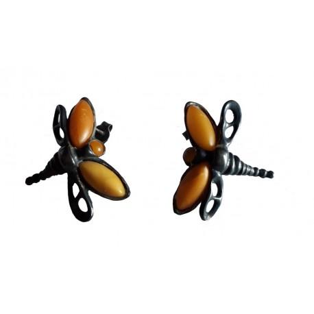 Boucles d'oreilles en Ambre royal de la Baltique et argent massif 925 °/°° vieilli papillon libellule