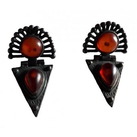Boucles d'oreilles motifs inca en Ambre de la Baltique et argent massif 925 °/°° vieilli
