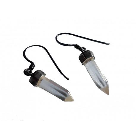Boucles d'oreilles en argent massif 925 °/°° vieilli un cristal