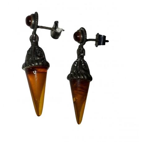Boucles d'oreilles pendantes en Ambre de la Baltique et argent massif 925 °/°° vieilli forme fuseau