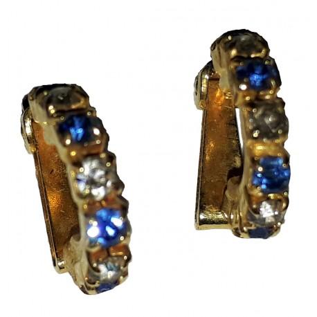 Boucles d'oreille à clip dorées fantaisie en forme d'anneau strass bleu, blanc, bleu clair