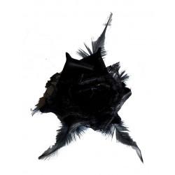 Fleur noire en satin, dentelle et plumes, avec broche et élastique pour la maintenir