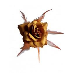 Fleur ocre jaune tissu thermoformé et plumes, avec broche pour la maintenir