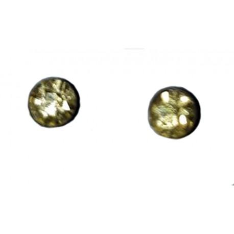 paire de Boucles d'oreilles puce en argent massif 925 °/°° vieilli avec cristal jaune clair