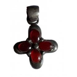 Pendentif en argent massif 925°/°° en forme de croix avec agate rouge