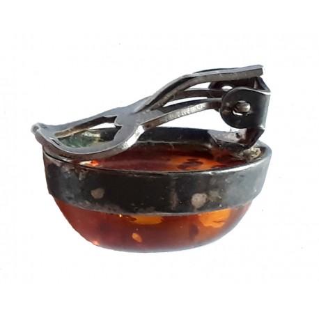 Boucles d'oreilles clip gros cabochon ovale en Ambre de la Baltique et argent massif 925 °/°° vieilli