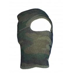 Véritable Cagoule en maille motif camouflage 1 trou pour les yeux modèle militaire soldat