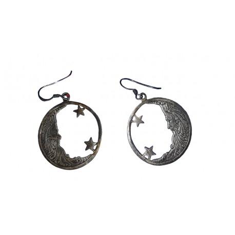1 paire de Boucles d'oreilles en argent massif 925 °/°° vieilli en forme magicien