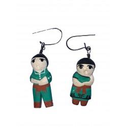 1 paire de Boucles d'oreilles en céramique peinte à la main un couple de péruvien