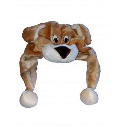 Chapeau de chien en peluche bonnet avec coté longs avec pompons taille enfant