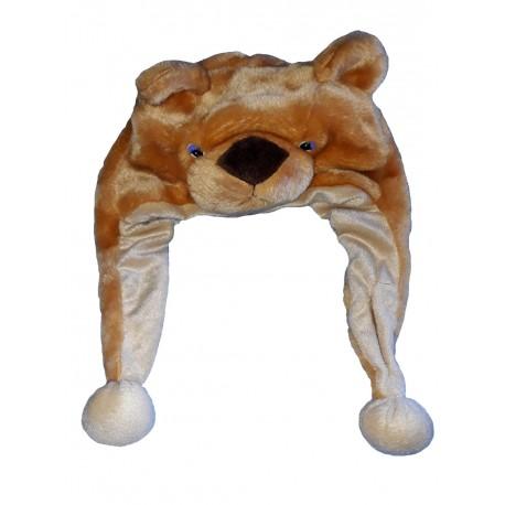 Chapeau de nounours en peluche bonnet ourson avec coté longs avec pompons taille enfant