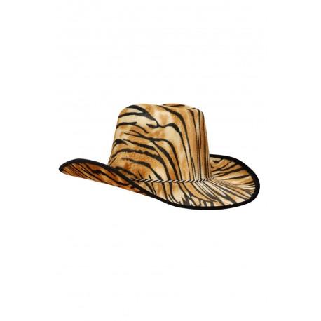 Chapeau de cow boy recouvert de velours fin motif tigre protection pour le soleil taille unique
