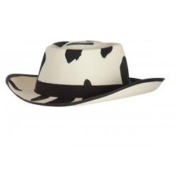 Chapeau de cow-boy forme Stetson aux couleurs de la vache ivoire et noir