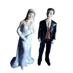 Figurine de mariage couple grand modèle amovible, 20 centimètres