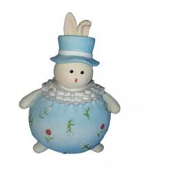 Tirelire 1 lapin clown bleu 15.50 centimètres de haut figurine en résine peinte