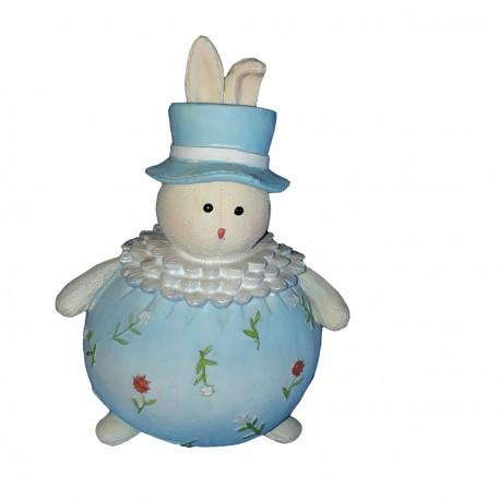 Figurine tirelire1 petit lapin clown bleu 15.50 centimètres de haut