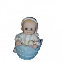 Tirelire 1 bébé bleu au bain 13.50 centimètres de haut, figurine en résine peinte