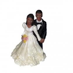 figurine-mariage-couple-de-maries-noirs-bouquet-jaune-et-rose