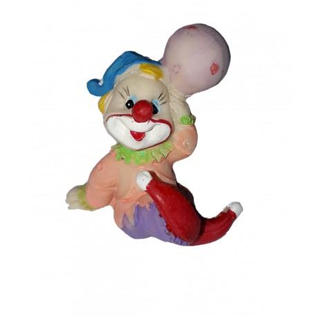 Clown couleur peche avec 1 ballon figurine en résine hauteur 4.5 centimètre