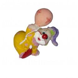 Clown combinaison jaune avec 1 ballon figurine en résine hauteur 4.5 centimètre