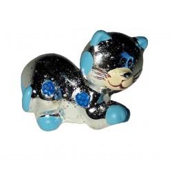 Figurine Chaton argent et bleu allongé chat joueur