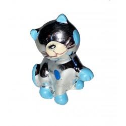 Figurine Chaton argent et bleu donnant la patte très mignon