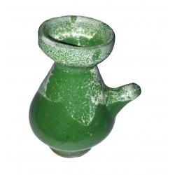 Figurine miniature taraillette en céramique emaillée en vert et blanc pichet