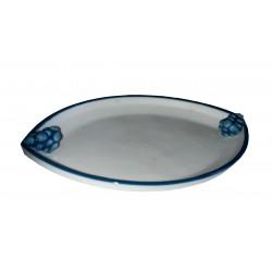 Figurine miniature taraillette plat en céramique blanche et bleu