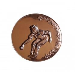 centre de Medaille Pétanque cuivre rose 50 millimètres de diamètre à coller sur porte centre