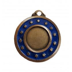 Medaille porte centre ciselée dorée et bleue avec 14 étoiles 50 millimètres récompense sportive