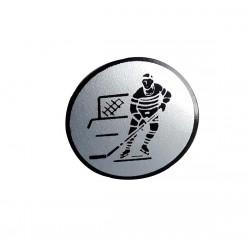 centre de Medaille papier traité argent hockey sur glace 25 millimètres de diamètre à coller sur porte centre