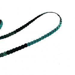 1 mètre de paillettes vert canard sur fil à coudre bande brillante