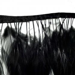 1 mètre de franges en plumes noires sur ruban satin