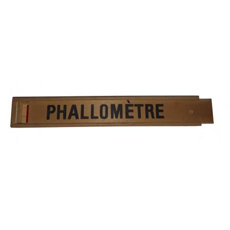 Phallomètre en bois avec règles et indication farces et attrapes