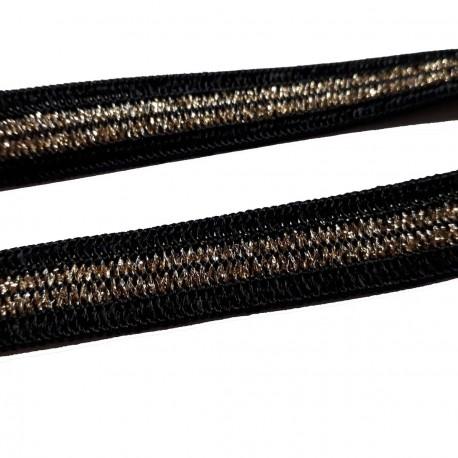 1 mètre galon noir et bande brillante doré 18 millimètres de large