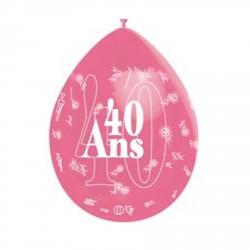 """1 ballon de baudruche """"40 ans"""" rose 80 cm"""