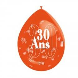 """1 ballon de baudruche """"30 ans"""" orange 80 cm"""