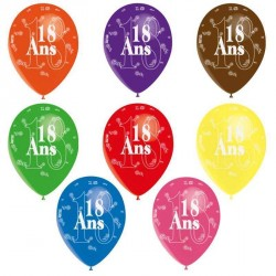 8 ballons de baudruche Jubilé de 18 ans décorés tout autour Diam