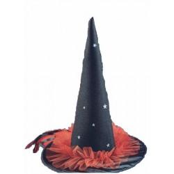 Chapeau noir de sorcière en tissu et tulle rouge 50 cm Halloween
