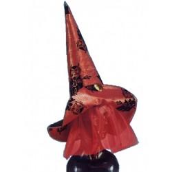 Chapeau de Sorcière en tissu noir et rouge, voile en tulle rouge